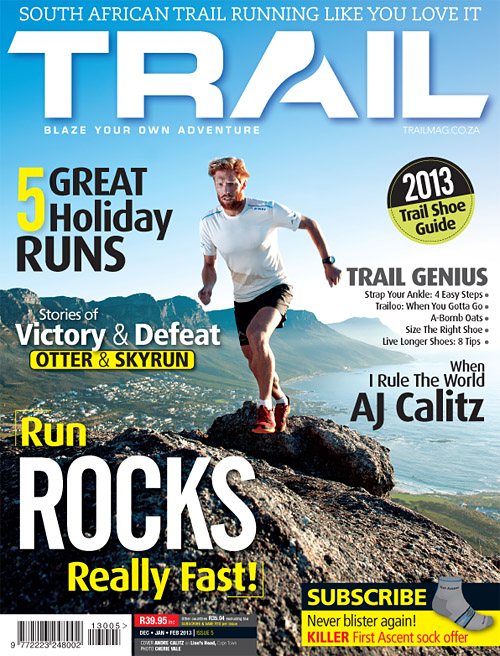 TRAIL issue 5 cover with AJ Calitz by photographer Cherie Vale
