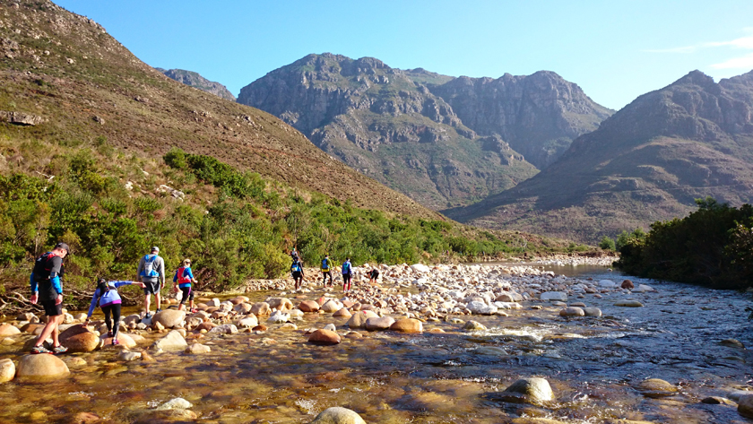 Nobody opted to run the third tricky Bergrivier crossing in the Western Cape, in July. Maybe the water temperature had something to do with it! Johann had time to move to the middle of the river and capture the convergence of the 15km and 25km fields. Johann Muller, Cape Town