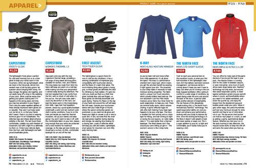 Apparel product guide spread TRAIL Magazine 2015