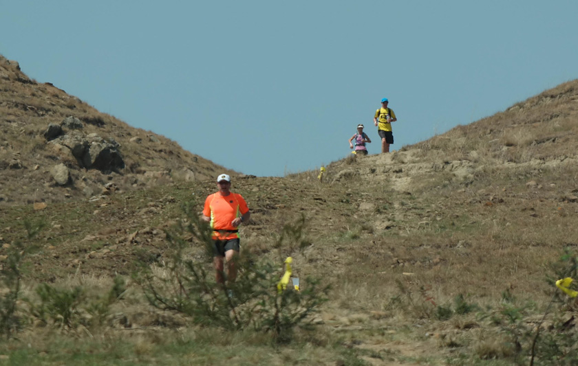 LoveTrail White Mountain 2015 Nic trails Deon Tegg, with Frankie Cawdry right behind him as they head back down White Mountain.