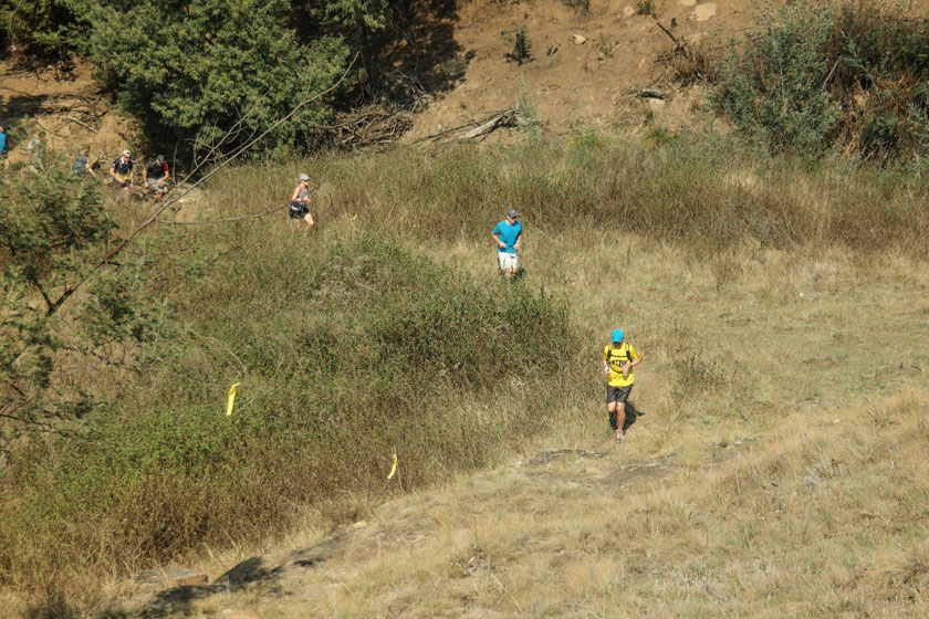 LoveTrail White Mountain 2015 Nic Quinn leading the pack just ahead of the 15km split. Photos Travis Marshall