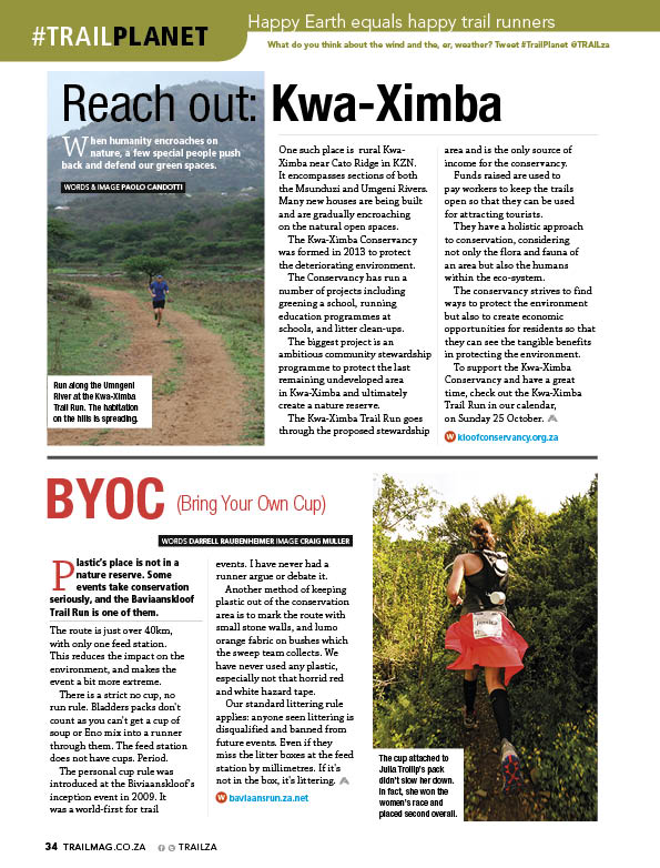 Kwa-Ximba Conservancy and Baviaanskloof no plastic racing TRAIL17