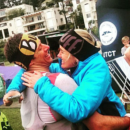 Landie giving Christiaan his congratulatory hug after he won the 2015 Ultra-trail Cape Town.