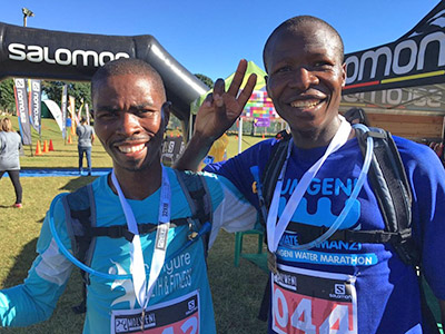 Muzi and Nomore the men's winner and runner up at the end of Molweni Trail Run 2016 photo DeonBraun TRAIL mag