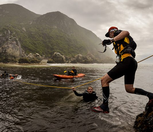 This is one of several Iwo Jima-like images from Otter over the years, as a Bloukrans hero takes a giant leap of faith at RETTO 2012. photo Jacques Marais/SONY