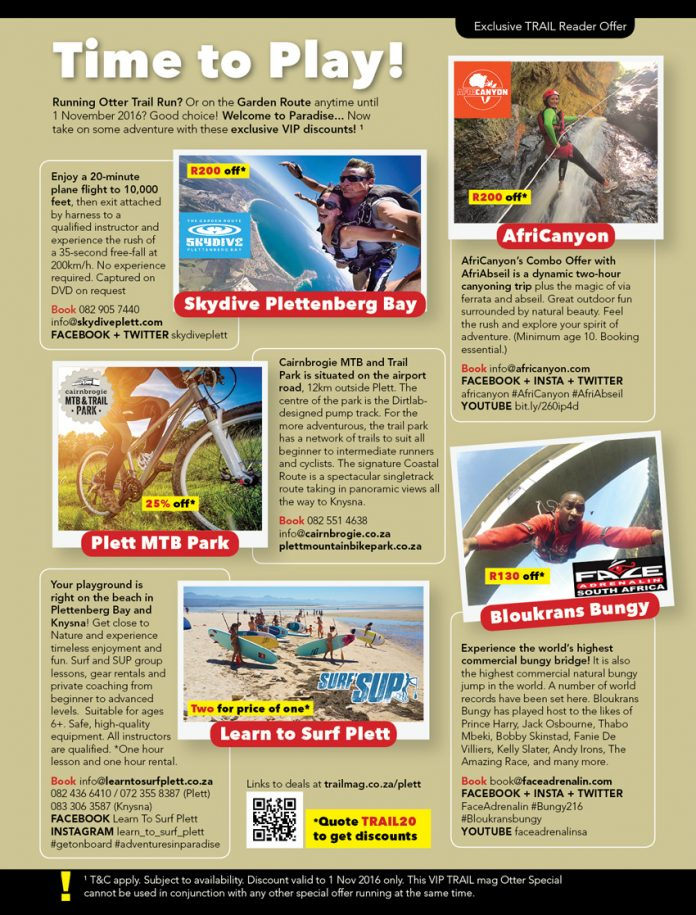 Plettenberg Bay adventure operators special discounts offer TRAIL 20