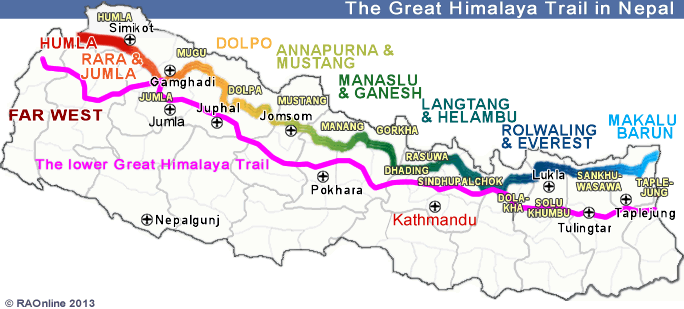 Great Himalaya Trail map RAOnline.ch