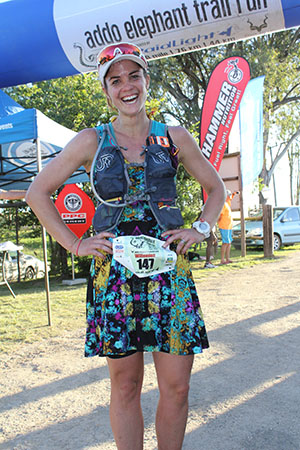 Addo Elephant Trail Run 2017 Willemien van Zyl rokkie runner 76km finish by Deon Braun