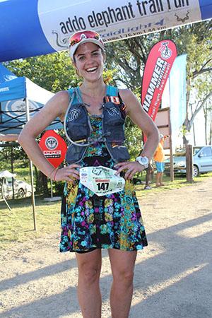 Addo Elephant Trail Run 2017 Willemien van Zyl rokkie runner 76km finish by Deon Braun