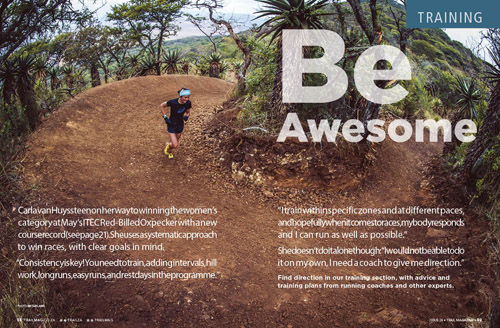 training section opening spread Be Aweseom Carla van Huyssteen at Oxpecker by Em Gatland TRAIL 24