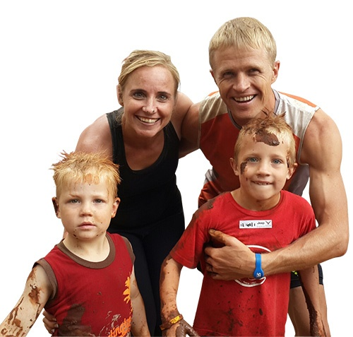 Roux family at Warrior Race Hugo and Ruben boys t25 etch
