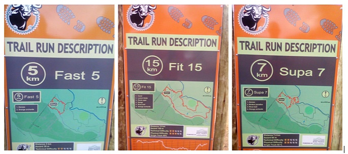 Buffelsdrift Trail Park Fast 5 Fit 15 Supa 7 signboards