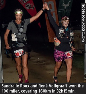 Addo Elephant Trail Run 2018 Sandra le Roux and Rene Vollgraaff finish by Kody McGregor