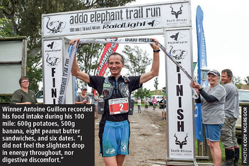 Addo Elephant Trail Run 2018 winner Antoine Guillon finish by Kody McGregor