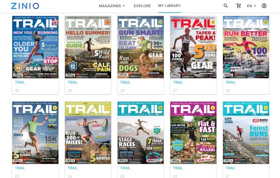 TRAIL magazine South Africa digital editions Zinio 10 most recent issues t21-t30