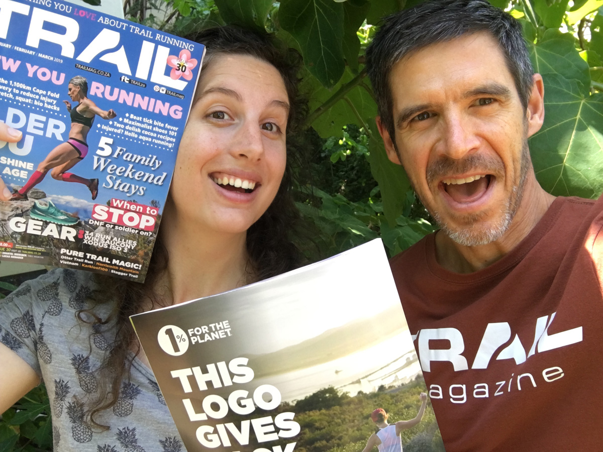 Heloise Hunter and Deon Braun celebrate new TRAIL issue 30 cover magazine