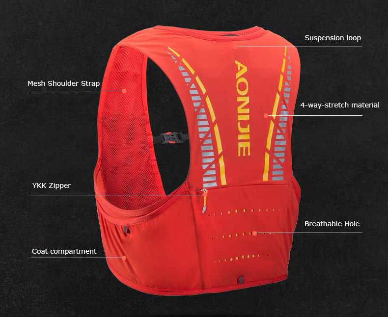 AONIJIE Moderate Gale 5L vest 5-Litre hydration pack BACK VIEW 2019