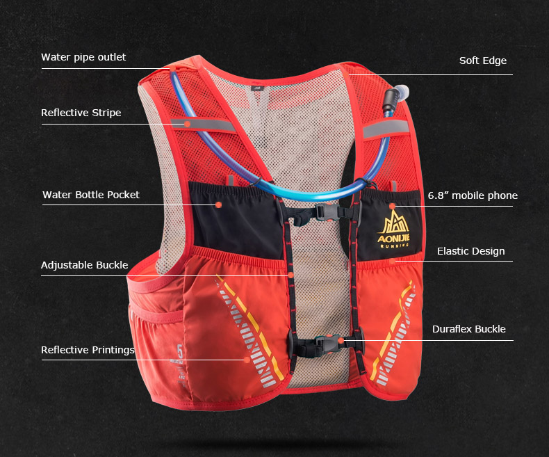 AONIJIE Moderate Gale 5L vest 5-Litre hydration pack FRONT VIEW 2019