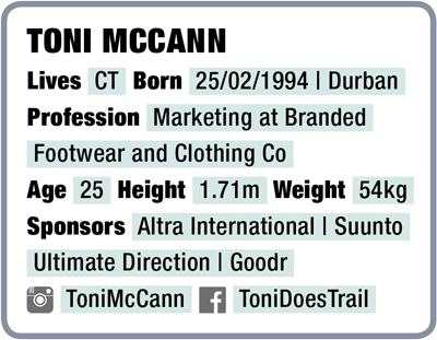Toni McCann bio box facts TRAIL 32