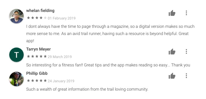 reviews comments TRAIL magazine praise five stars google play store app digital publications 2020