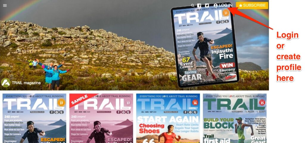Desktop app before signing in TRAIL magazine issue 37