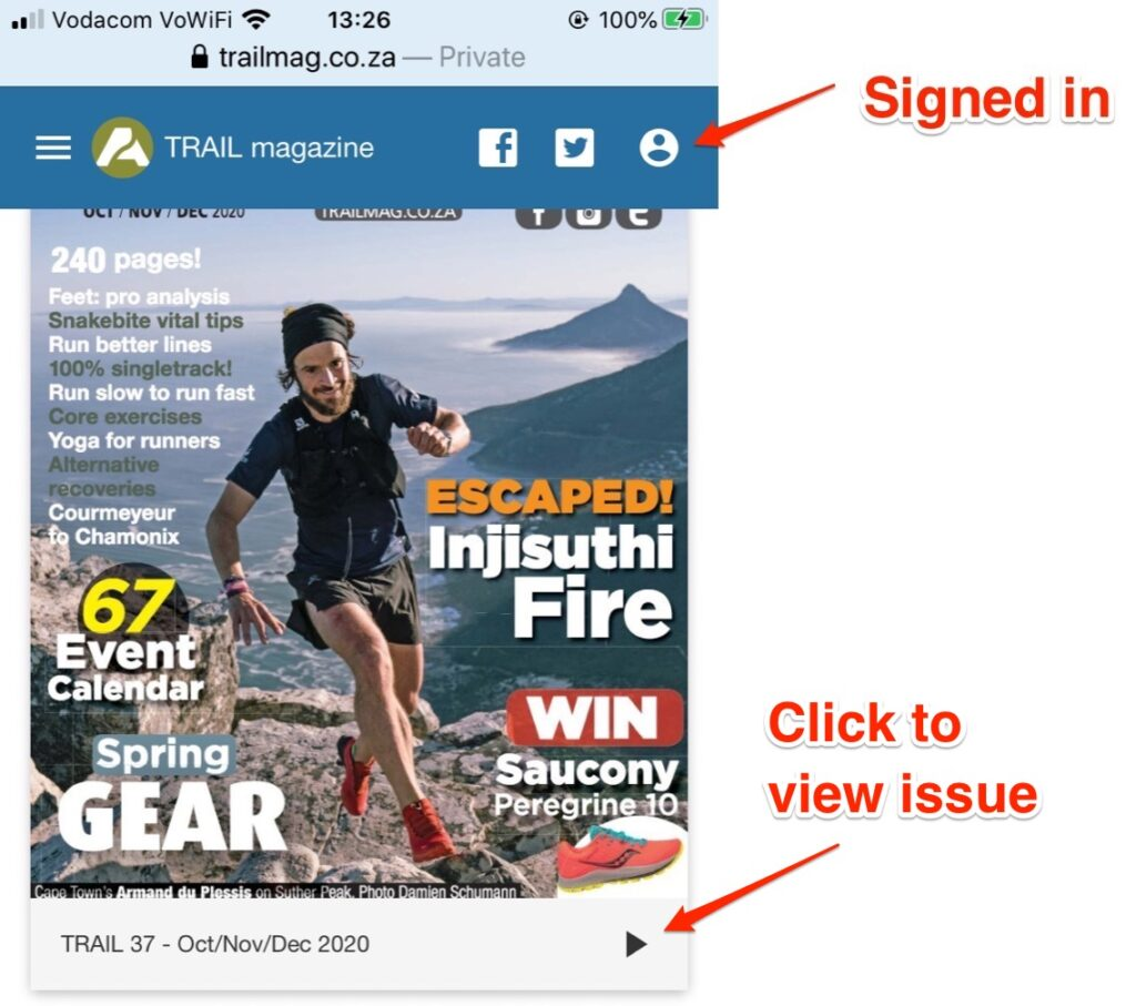 Mobile app TRAIL magazine after registration, purchase, and login to view issue