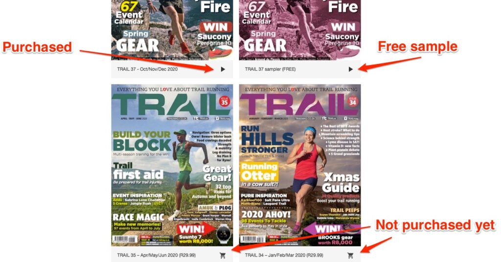 Mobile app general view showing all TRAIL magazine issues