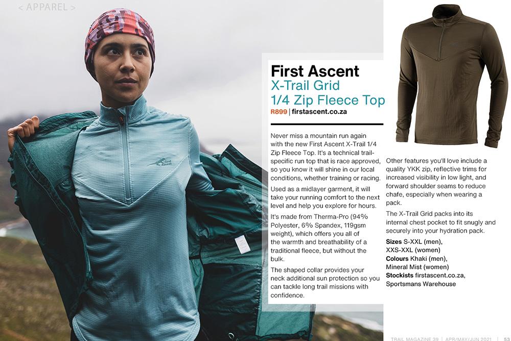 First Ascent Men & Women X-Trail Grid 1-4 Zip Fleece Top gear guide t39